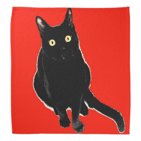 Black Kitty Cat Red Bandana