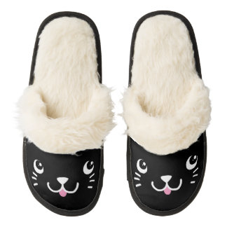Black Kitty Face Pair Of Fuzzy Slippers
