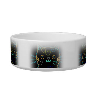 Black Kitty glow Hearts pet food bowl