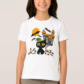 Black Kitty Halloween Girls T Shirts
