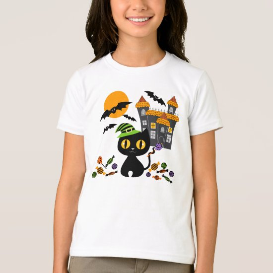 Black Kitty Halloween Girls T Shirts