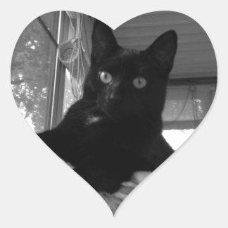 Black Kitty Heart Sticker