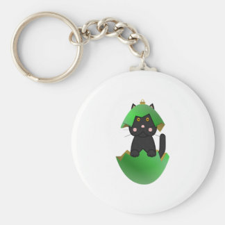 Black Kitty In A Green Christmas Ornament Basic Round Button Keychain