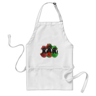 Black Kitty In Christmas Ornaments Aprons