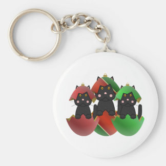 Black Kitty In Christmas Ornaments Basic Round Button Keychain