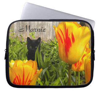 Black Kitty in the Tulips Laptop Sleeve