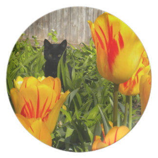Black Kitty in the Tulips Plate