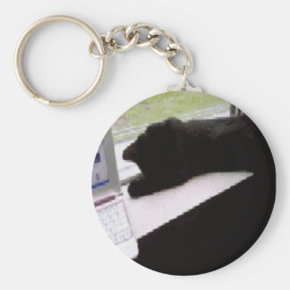 Black Kitty In Window by Computer Keychain