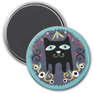 Black Kitty Lovely Kawaii Cat Blue Magnet
