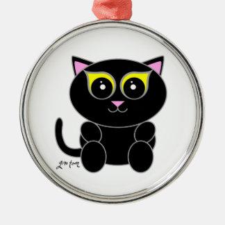Black Kitty Metal Ornament