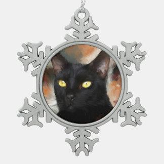 Black Kitty Snowflake Pewter Christmas Ornament
