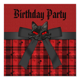 Black Kitty & Skulls Black & Red Plaid Birthday Personalized Announcement