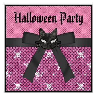 Black Kitty Skulls Pink Halloween Party Invitation