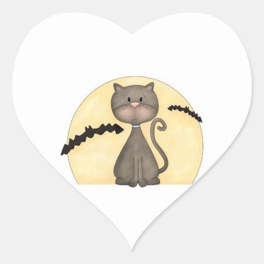 Black Kitty w/ Bats Heart Sticker