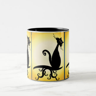 Black Kitty Watching You Mugs