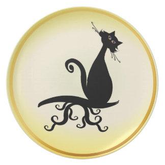 Black Kitty Watching You Plates