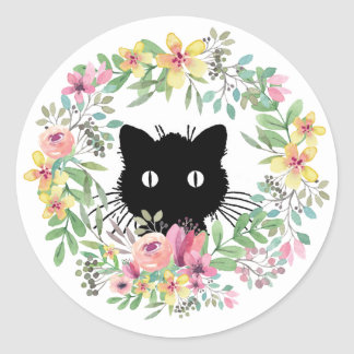 Black Kitty/Watercolor Wreath Classic Round Sticker