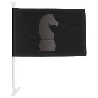 Black knight chess piece car flag
