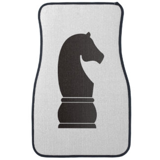 Black knight chess piece car mat