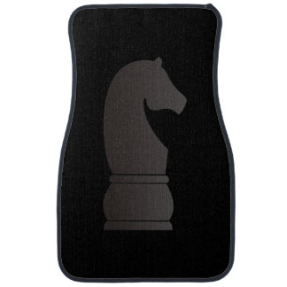 Black knight chess piece car mat