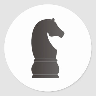Black knight chess piece classic round sticker
