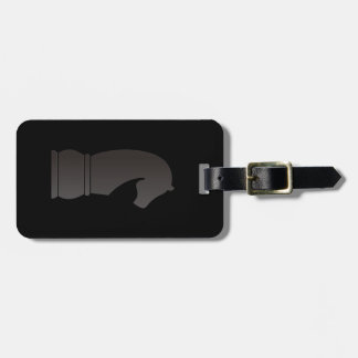 Black knight chess piece luggage tag