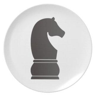 Black knight chess piece melamine plate