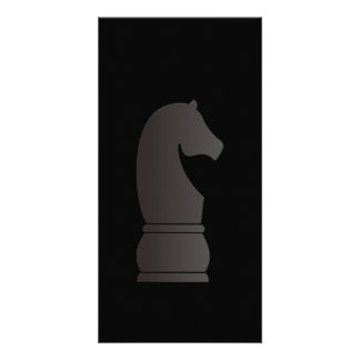 Black knight chess piece photo card