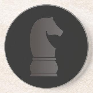 Black knight chess piece sandstone coaster