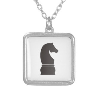 Black knight chess piece silver plated necklace