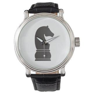 Black knight chess piece wristwatch