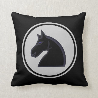 Black Knight Horse Chess Piece Throw Pillow