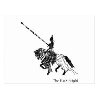 Black Knight w/ Lance & Shield Rides Armored Horse Postcard