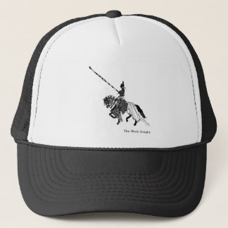 Black Knight w/ Lance & Shield Rides Armored Horse Trucker Hat