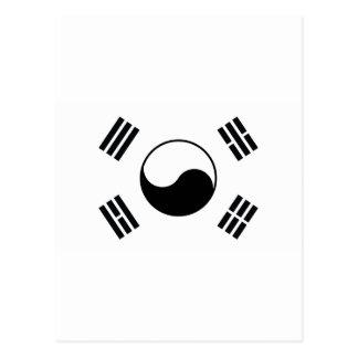 Black Korea Country Flag Postcard