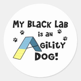 Black Lab Agility Dog Classic Round Sticker