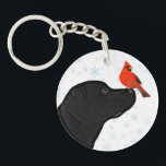"""Black Lab and Cardinal Keychain<br><div class=""""desc"""">Black Lab and Cardinal</div>"""
