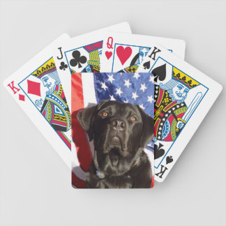 Black Lab and Flag Bicycle Playing Cards