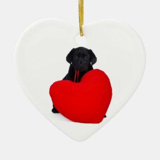 Black lab and heart ceramic ornament