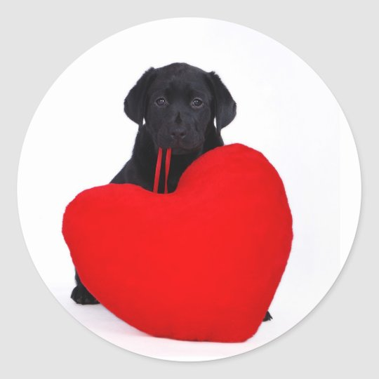 Black lab and heart classic round sticker