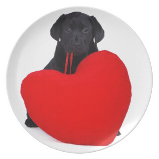 Black lab and heart melamine plate