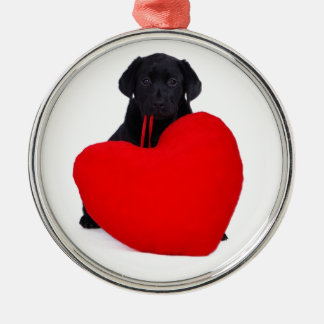Black lab and heart metal ornament