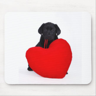 Black lab and heart mouse pad