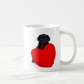 Black lab and heart classic white coffee mug