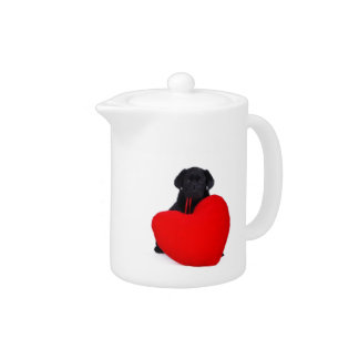 Black lab and heart teapot