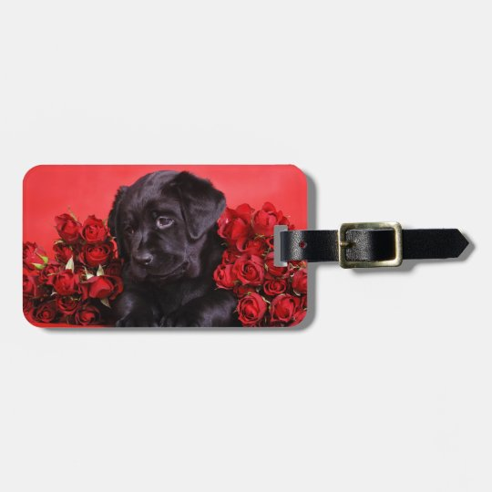 Black Lab and roses Luggage Tag