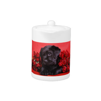 Black Lab and roses Teapot