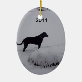 black lab and snow ornament