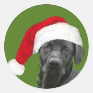 Black lab Christmas Classic Round Sticker