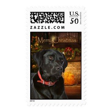 Christmas Themed Black Lab Christmas Postage Stamp